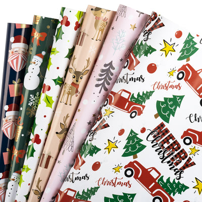 Wrapaholic-Santa-Claus-and-Red- Truck-with-Trees-Design-Gift-Wrapping-Paper-Sheet-1