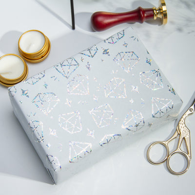 Wrapaholic-Silver-Diamond -Design-with -Matallic-Foil -Shine-Gift-Wrapping -Paper-Roll-4
