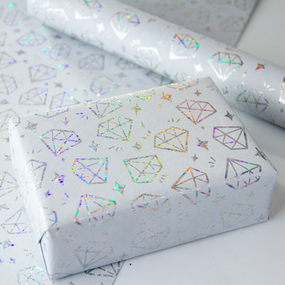 Wrapaholic-Silver-Diamond -Design-with -Matallic-Foil -Shine-Gift-Wrapping -Paper-Roll-6