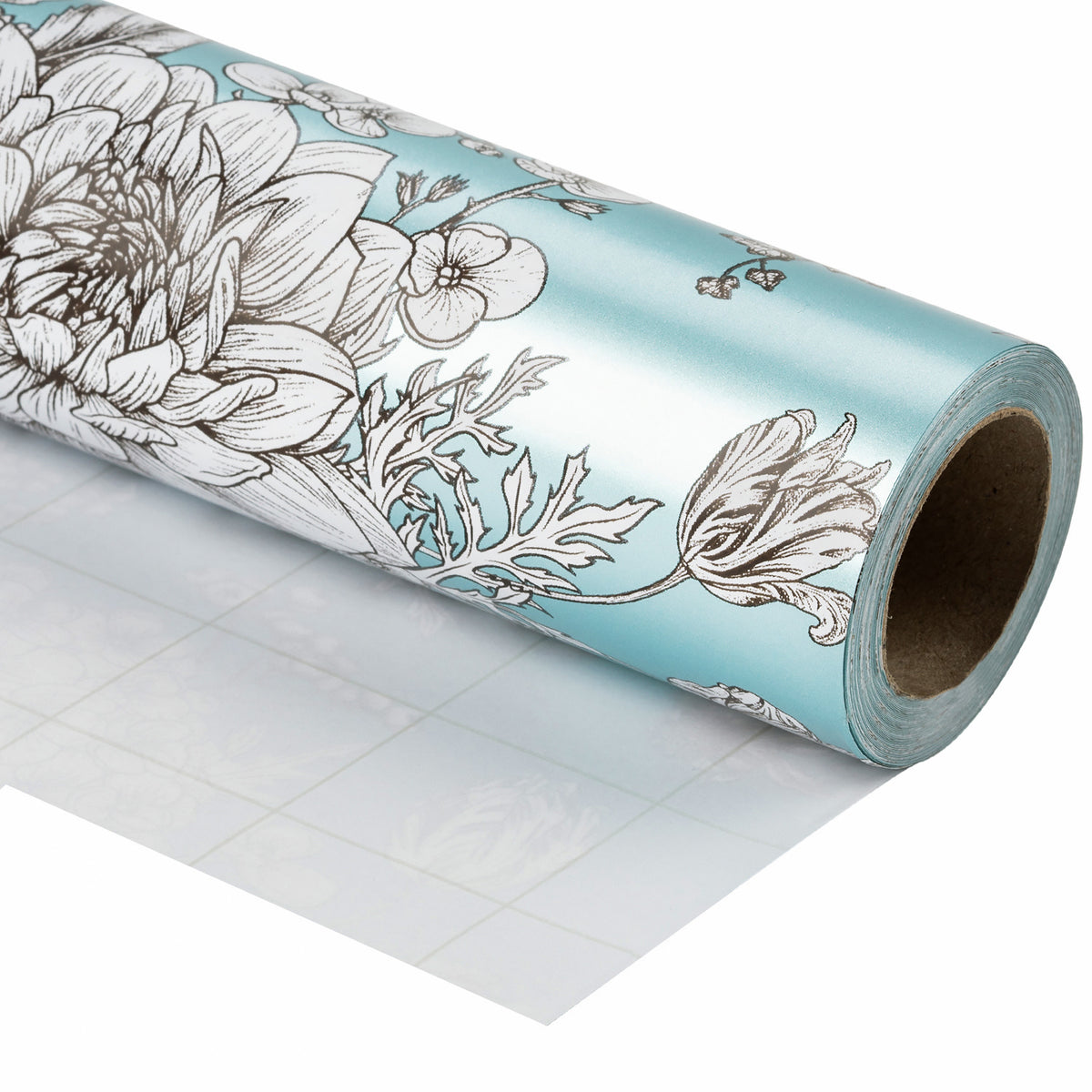 Wrapaholic-Vintage-Floral- Printed-on-Blue Pearlized-Pape-Gift-Wrapping-Paper-Roll-1