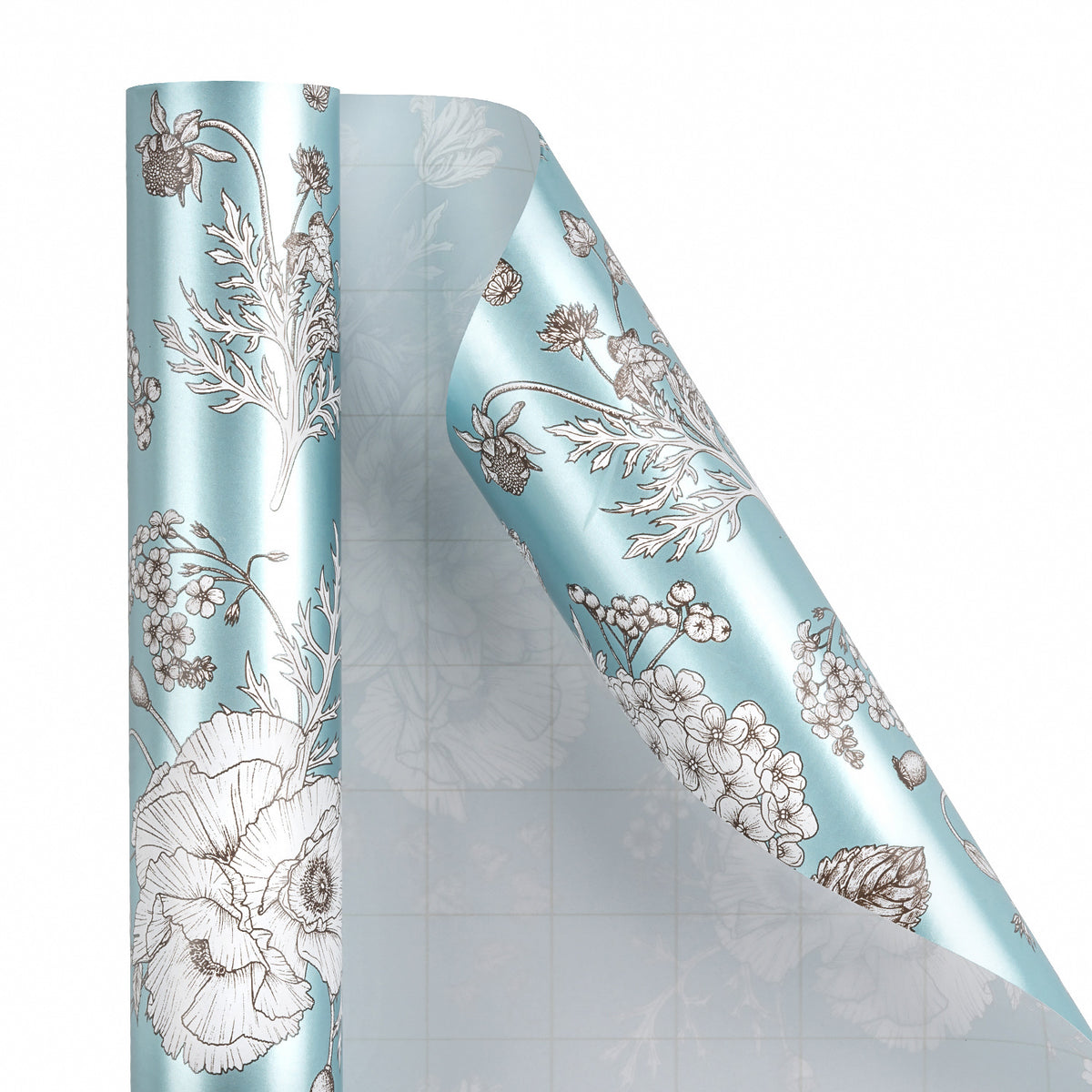 Wrapaholic-Vintage-Floral- Printed-on-Blue Pearlized-Pape-Gift-Wrapping-Paper-Roll-2