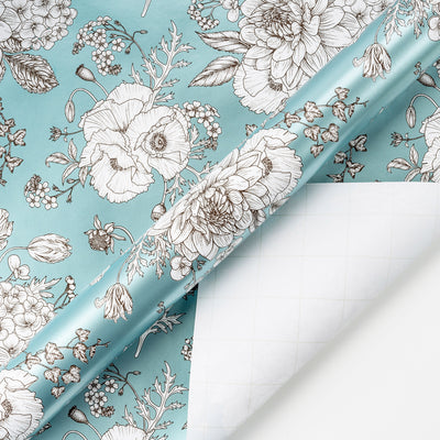 Wrapaholic-Vintage-Floral- Printed-on-Blue Pearlized-Pape-Gift-Wrapping-Paper-Roll-3