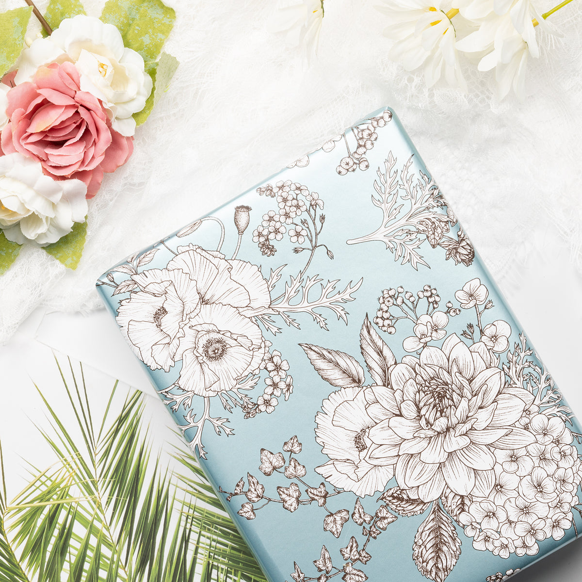 Wrapaholic-Vintage-Floral- Printed-on-Blue Pearlized-Pape-Gift-Wrapping-Paper-Roll-4