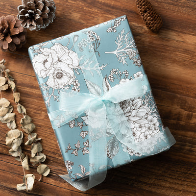 Wrapaholic-Vintage-Floral- Printed-on-Blue Pearlized-Pape-Gift-Wrapping-Paper-Roll-5