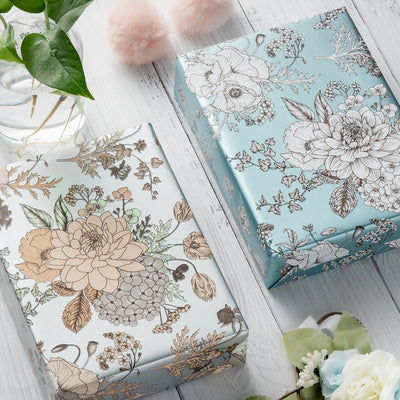 Wrapaholic-Vintage-Floral- Printed-on-Blue Pearlized-Pape-Gift-Wrapping-Paper-Roll-6