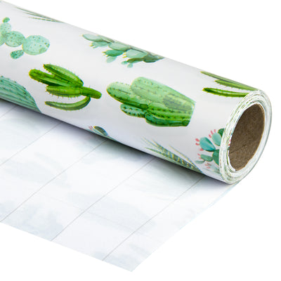 Wrapaholic-Watercolor-Cactus-Print-Gift-Wrapping-Paper-Roll-1