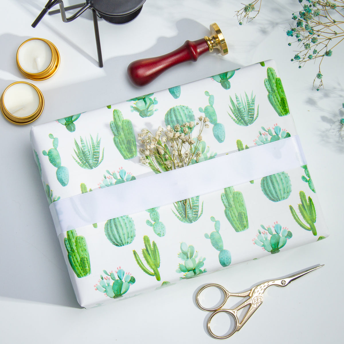 Wrapaholic-Watercolor-Cactus-Print-Gift-Wrapping-Paper-Roll-5