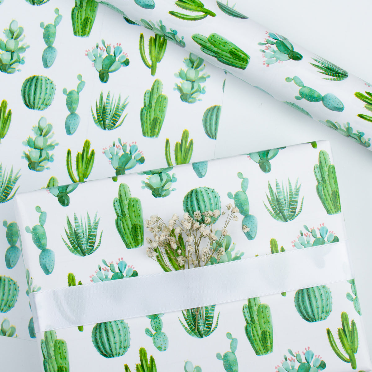 Wrapaholic-Watercolor-Cactus-Print-Gift-Wrapping-Paper-Roll-6