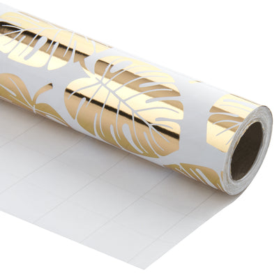 Wrapaholic- White-and- Gold-Foil-Tropical-Palm- Leaves-Gift-Wrapping- Paper-Roll-1