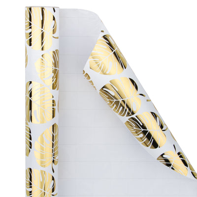 Wrapaholic- White-and- Gold-Foil-Tropical-Palm- Leaves-Gift-Wrapping- Paper-Roll-3