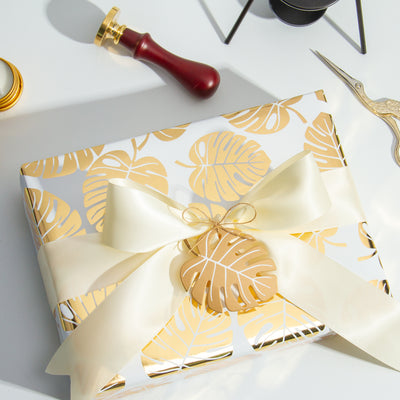 Wrapaholic- White-and- Gold-Foil-Tropical-Palm- Leaves-Gift-Wrapping- Paper-Roll-4