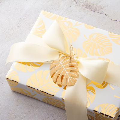 Wrapaholic- White-and- Gold-Foil-Tropical-Palm- Leaves-Gift-Wrapping- Paper-Roll-5