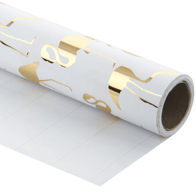 Wrapaholic- White-with- Gold-Foil-Flamingo-Gift- Wrapping-Paper-Roll-1