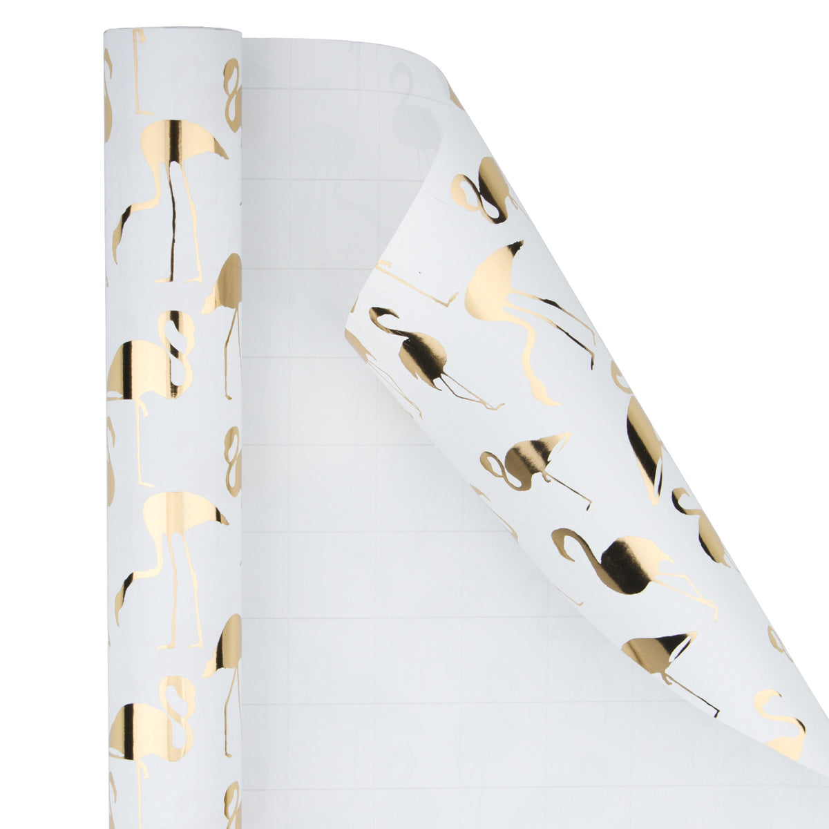Wrapaholic- White-with- Gold-Foil-Flamingo-Gift- Wrapping-Paper-Roll-2