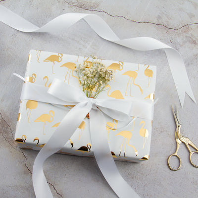 Wrapaholic- White-with- Gold-Foil-Flamingo-Gift- Wrapping-Paper-Roll-5
