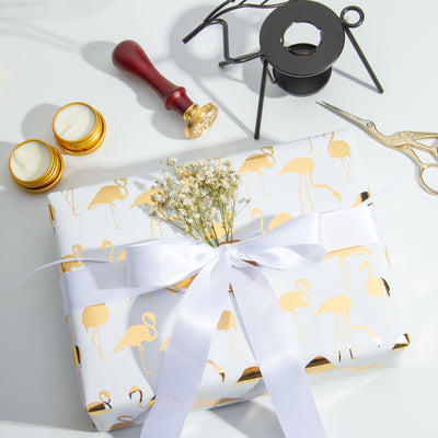 Wrapaholic- White-with- Gold-Foil-Flamingo-Gift- Wrapping-Paper-Roll-7