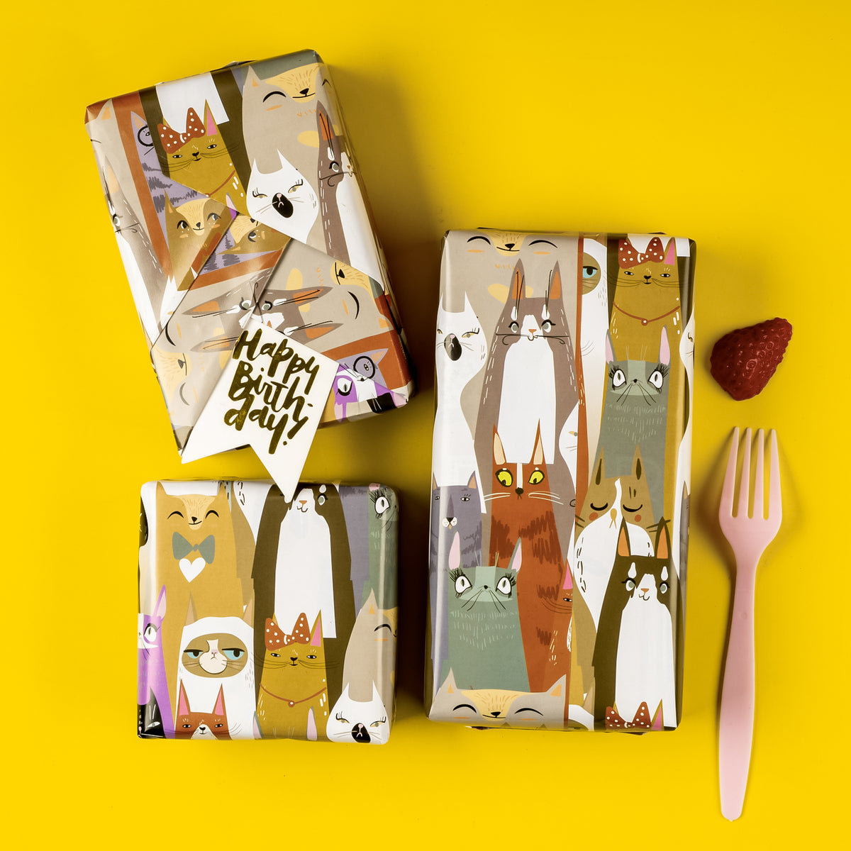 Wrapaholic Wrapping Paper Sheet - Folded Flat - 3 sheets - Cat Design(22.6 sq. ft.ttl.) - 27.5 inch X 39.4 inch Per Sheet