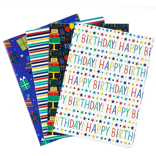 Wrapaholic-Wrapping-Paper-Sheet - Folded-Flat-4-Different-Birthday-Design (30.1 sq. ft.ttl.) - 27.5 inch X 39.4 inch-Per-Sheet-1