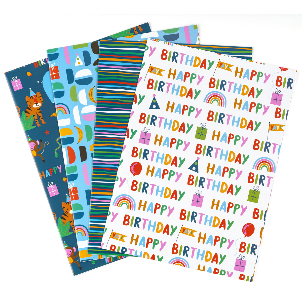 Wrapaholic-Wrapping-Paper-Sheet- Folded-Flat-4 Different-Birthday-Design (30.1 sq. ft.ttl.) - 27.5 inch X 39.4 inch-Per-Sheet-1