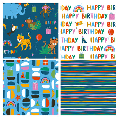 Wrapaholic-Wrapping-Paper-Sheet- Folded-Flat-4 Different-Birthday-Design (30.1 sq. ft.ttl.) - 27.5 inch X 39.4 inch-Per-Sheet-2