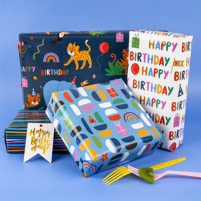 Wrapaholic-Wrapping-Paper-Sheet- Folded-Flat-4 Different-Birthday-Design (30.1 sq. ft.ttl.) - 27.5 inch X 39.4 inch-Per-Sheet-4