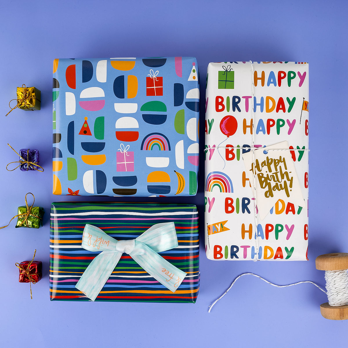 Wrapaholic-Wrapping-Paper-Sheet- Folded-Flat-4 Different-Birthday-Design (30.1 sq. ft.ttl.) - 27.5 inch X 39.4 inch-Per-Sheet-6