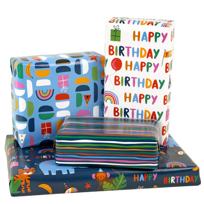 Wrapaholic-Wrapping-Paper-Sheet- Folded-Flat-4 Different-Birthday-Design (30.1 sq. ft.ttl.) - 27.5 inch X 39.4 inch-Per-Sheet-5