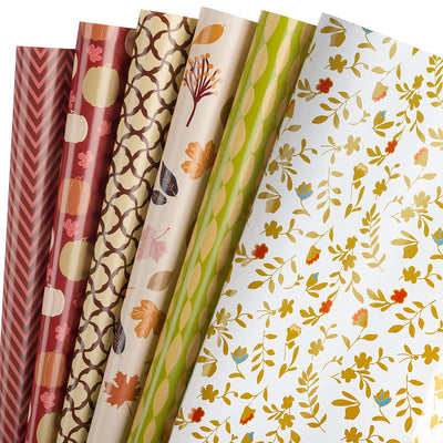 Wrapaholic-Wrapping-Paper-Sheet - Folded-Flat-6-Different -Autumn-Design (45.2 sq. ft.ttl.) - 27.5 inch X 39.4 inch-Per-Sheet-1