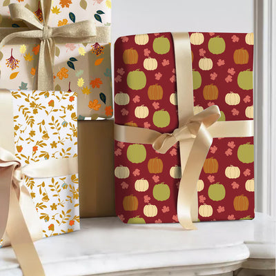 Wrapaholic-Wrapping-Paper-Sheet - Folded-Flat-6-Different -Autumn-Design (45.2 sq. ft.ttl.) - 27.5 inch X 39.4 inch-Per-Sheet-2