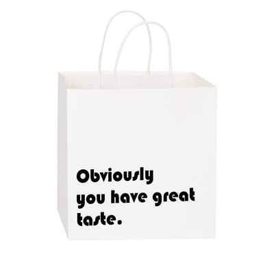 Wrapaholic You Have Great Taste Gift Bags-Medium Size Printed Black Letters Business Thank You Bag Shopping Bags -12 Pack-10 x 5 x 10