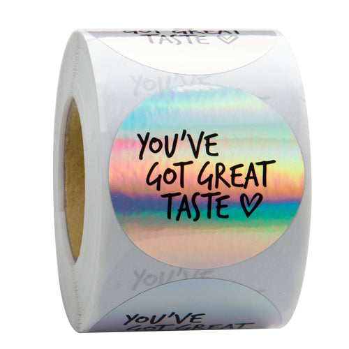 Wrapaholic You've Got Great Taste Stickers Black Ink Holographic Silver Business Thank You Stickers, Shipping Stickers-2 x 2 Inch 500 Total Labels
