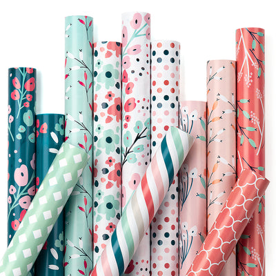 Wrapaholic Wrapping Paper Sheet - 12 Different Floral Design (90.4 sq. ft.ttl.) - 27.5 inch X 39 inch Per Sheet