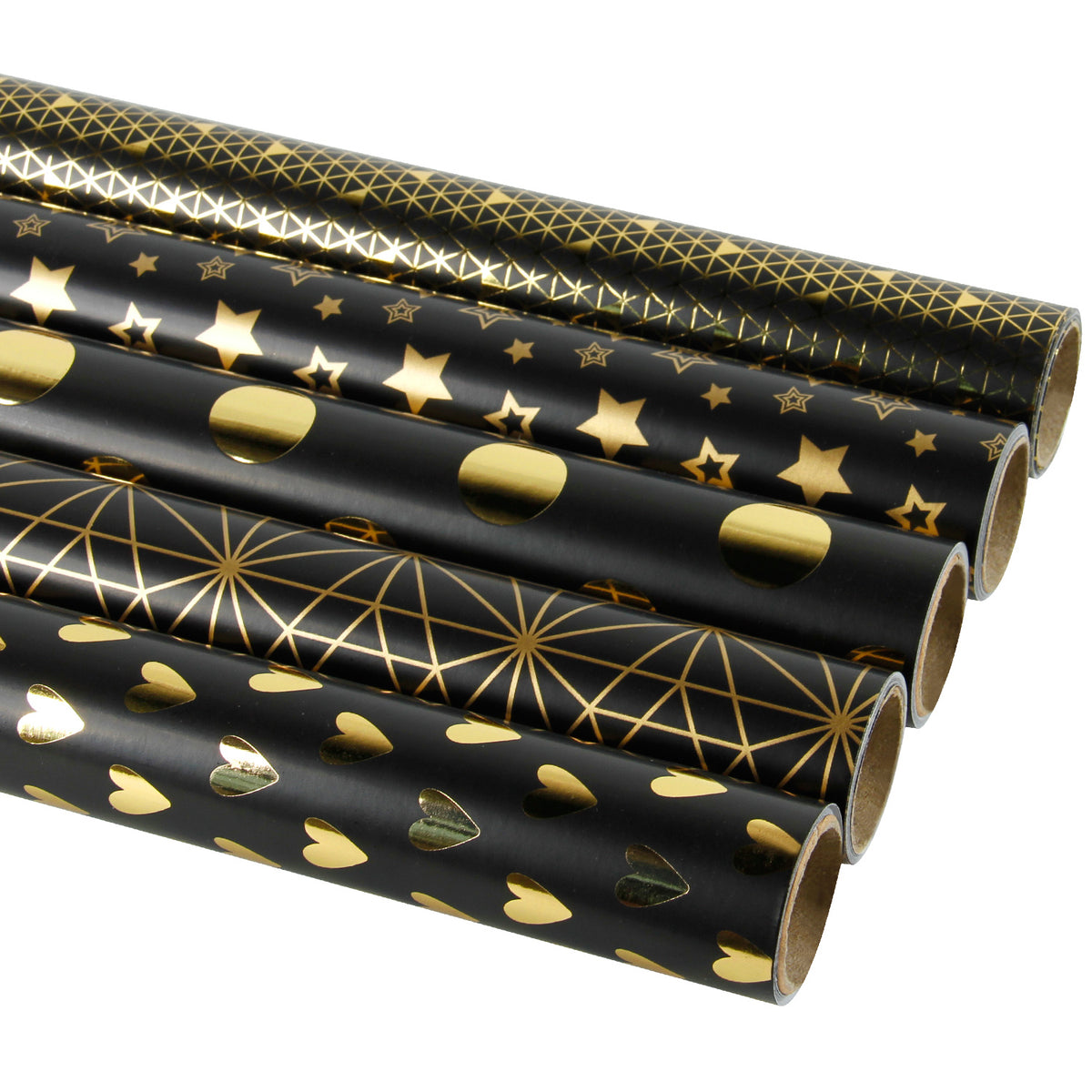 Wrapaholic-Gold-Foil-Printing-Gift-Wrapping-Paper-Roll-5 Rolls-Set-Black-2