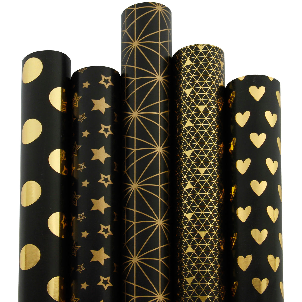 Wrapaholic-Gold-Foil-Printing-Gift-Wrapping-Paper-Roll-5 Rolls-Set-Black-1
