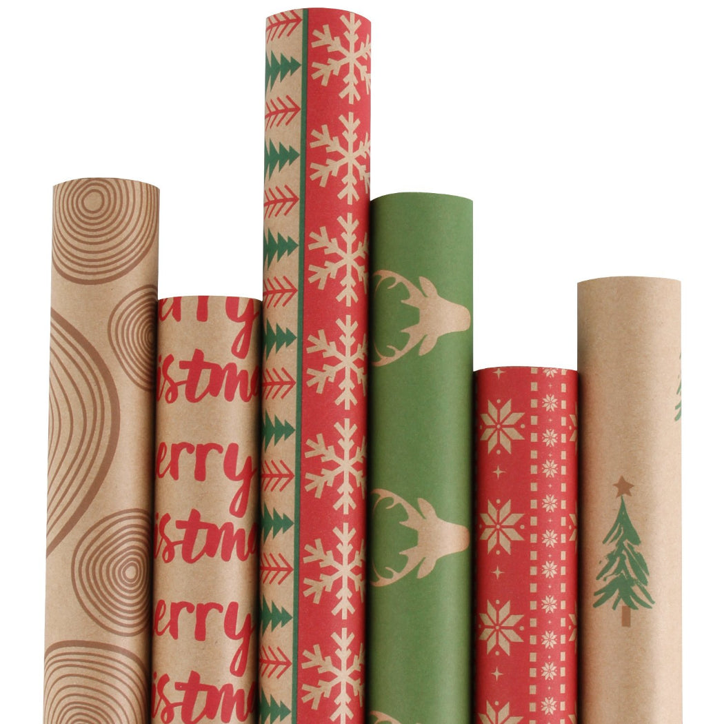 Christmas Gift Wrapping Kraft Paper Red And Green Printed Design