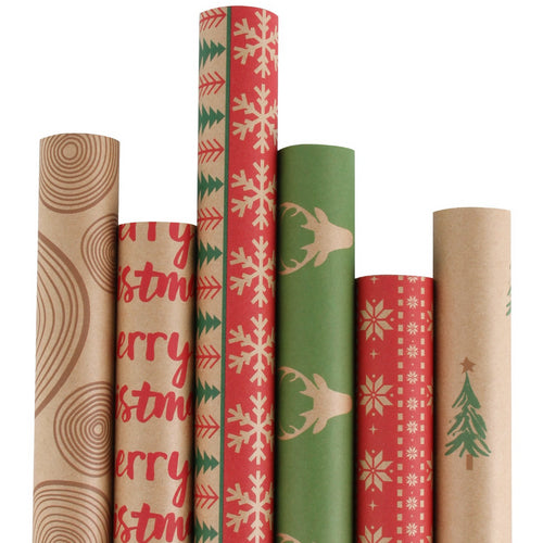 Wrapaholic Vintage Traditional Christmas Gift Wrapping Paper, Kraft Paper 100% recycled, 6 Rolls/ Set