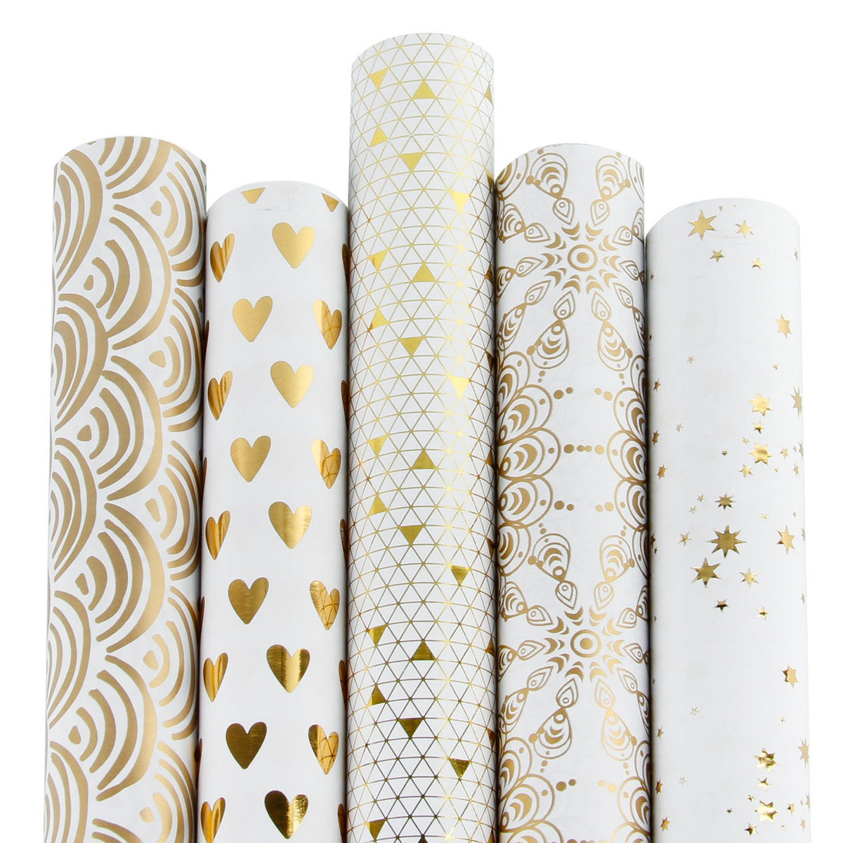 Wrapaholic-Gold-Foil-Printing-Gift-Wrapping-Paper-Roll-5-Rolls-Set-White-1