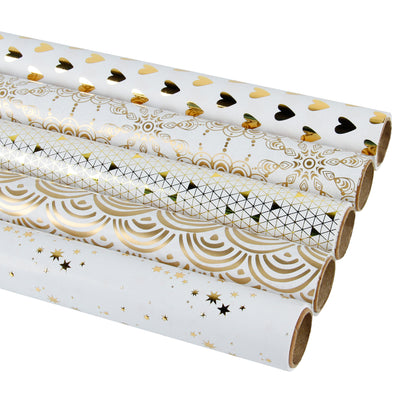 Wrapaholic-Gold-Foil-Printing-Gift-Wrapping-Paper-Roll-5-Rolls-Set-White-2
