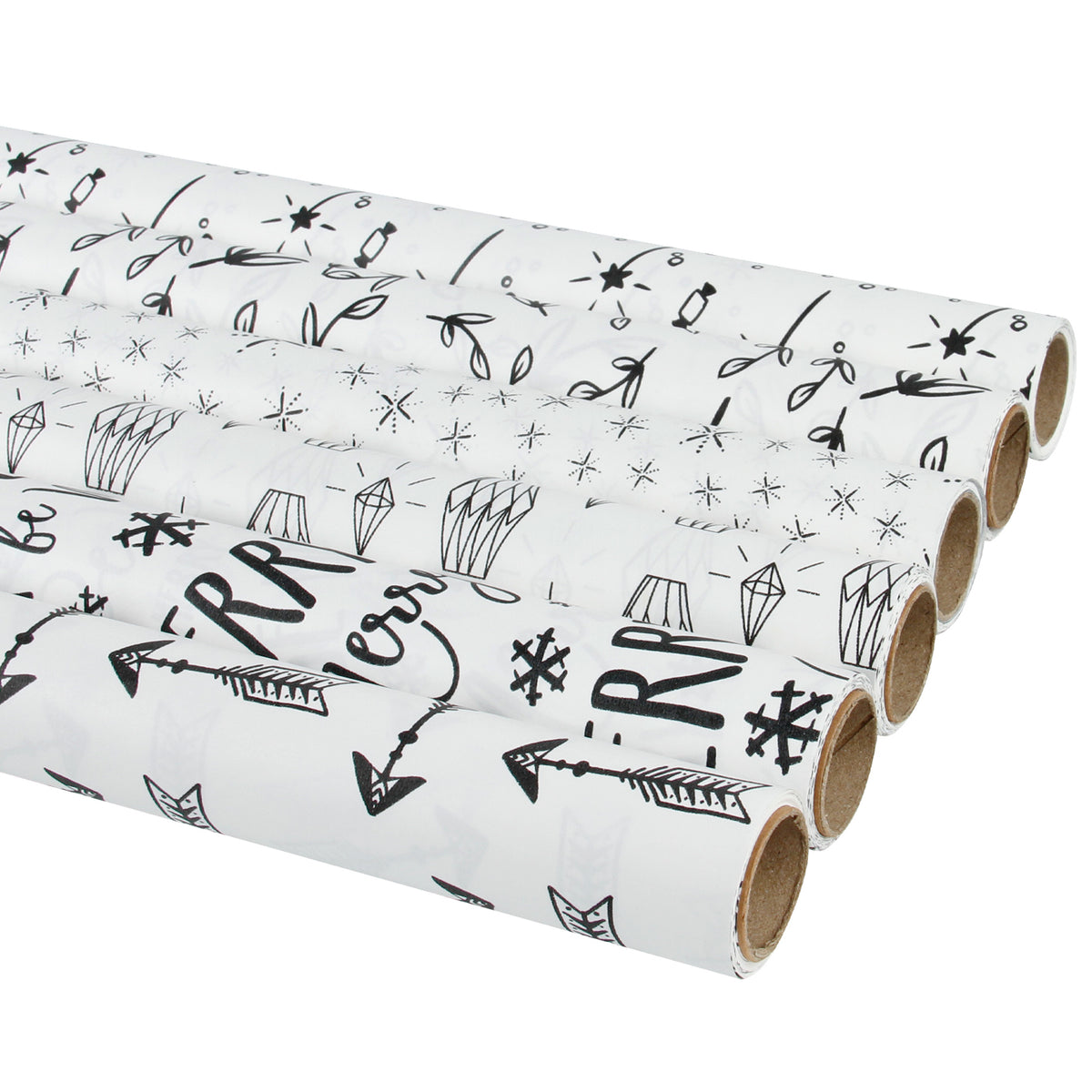 Wrapaholic Gift Wrapping Paper White Black Printed Design