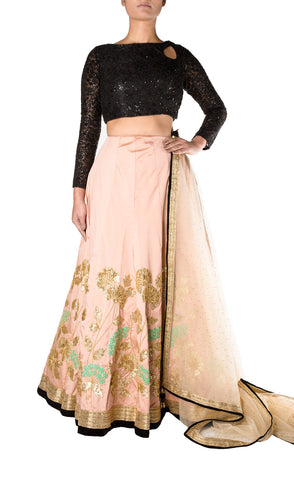 Blush Pink Silk Embroidered Skirt with Black Sequinned Long Sleeve Blouse