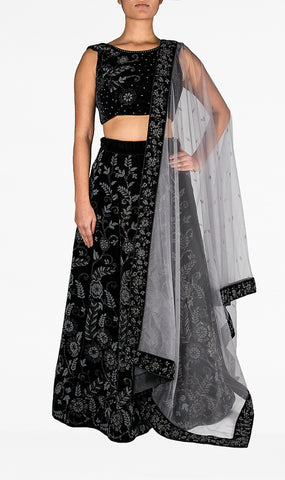 Black Velvet Lengha with Delicate Grey Intricate Stonework and Grey Net Dupatta
