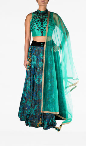 Aqua Green Choli with Black Beaded Embroidery with A Silk Navy Floral Lengha