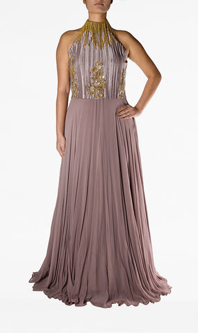 Mauve Dress with Gold Tassled Crop Top
