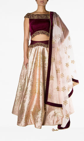 Maroon Velvet Off The Shoulder Top with Blush Pink Silk Skirt and Net Dupatta