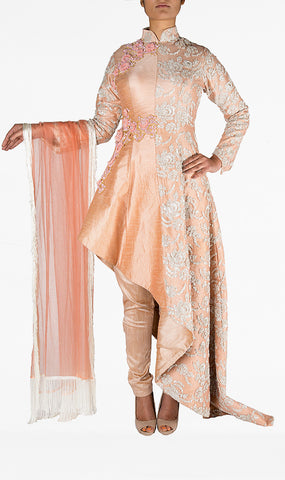 Pale Pink High Collared Intricate Embroidered Long Suit with Silk Trousers