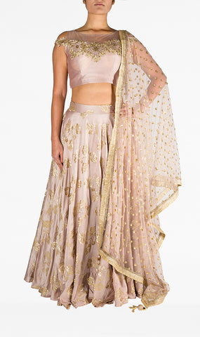 Dusky Pink Silk Cold Shoulder Top with Gold Embroidery with Pure Silk Skirt and Net Embroidered Dupatta