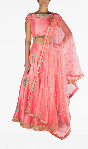 Embroided Off The Shoulder Pink Top with Gold Tassels and Embroidered Silk Skirt
