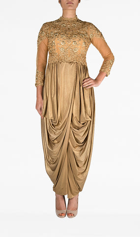 Gold Dhoti Dress with Embroidered Bodice