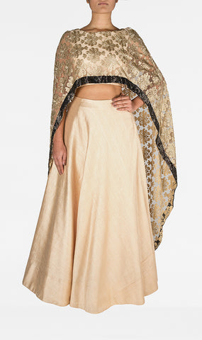 Raw Silk Choli with Lace Poncho and Silk Skirt