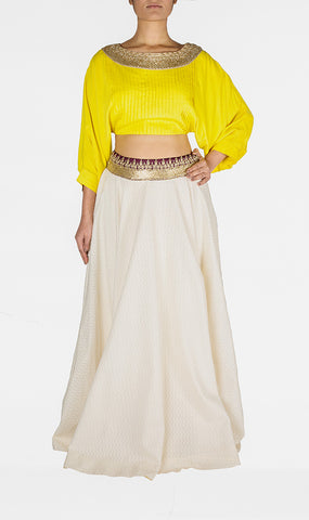 Yellow and White Funky Skirt with Cropped Top